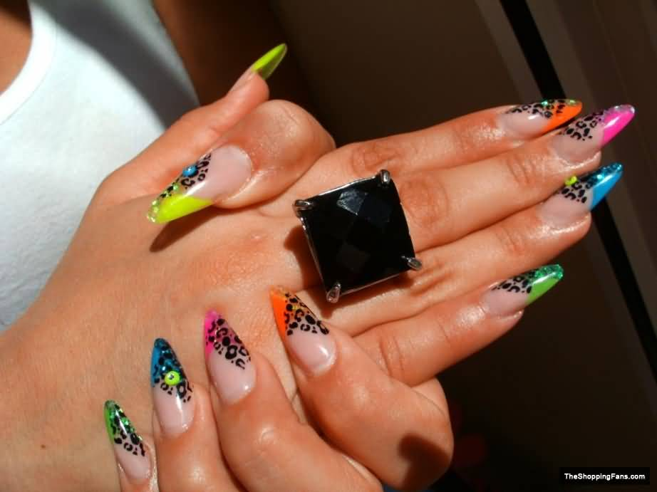 Neon French Tip Leopard Print Nail Art