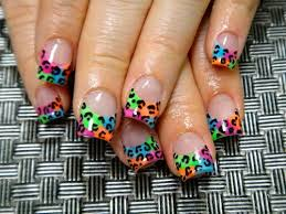 Neon French Tip Leopard Print Nail Design
