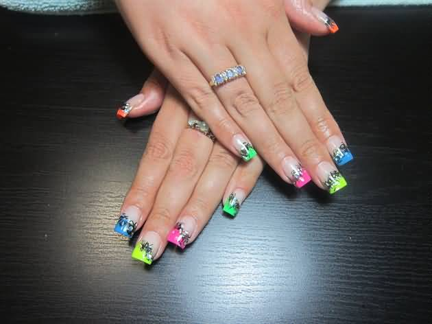 Neon French Tip Nail Art Design Idea