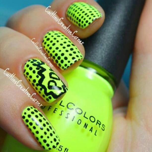 Neon Green Nails With Black Polka Dots Nail Art