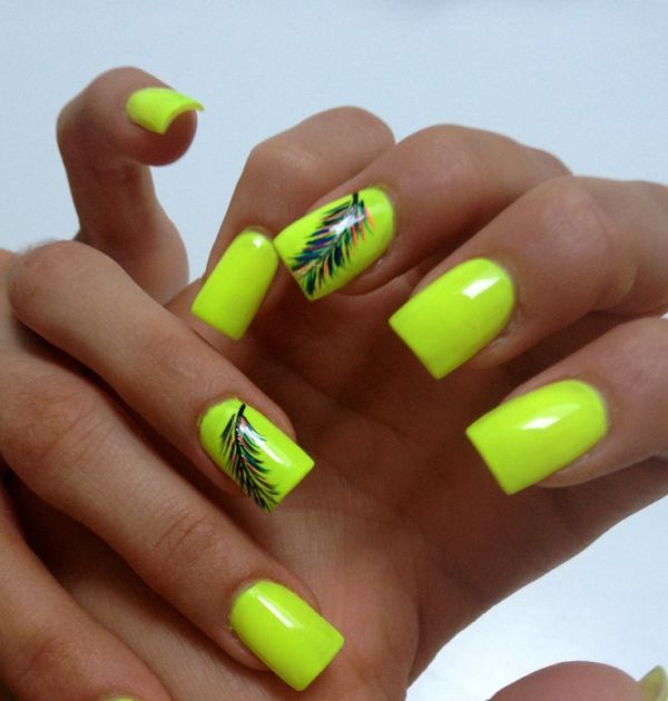 Neon Green Nails With Feather Design Nail Art