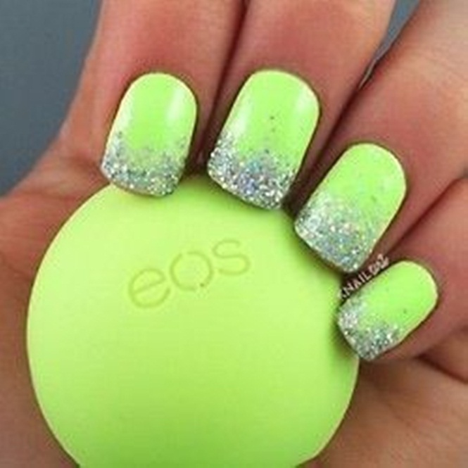 Neon Green Nails With Glitter Nail Art