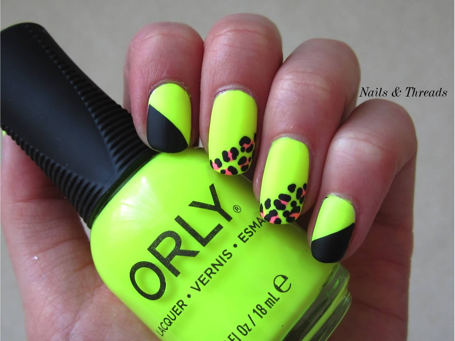 50 latest neon nail art design ideas neon green nails with pink leopard print nail art prinsesfo Images