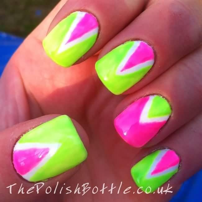 Neon Green And Pink Chevron Design Neon Nail Art