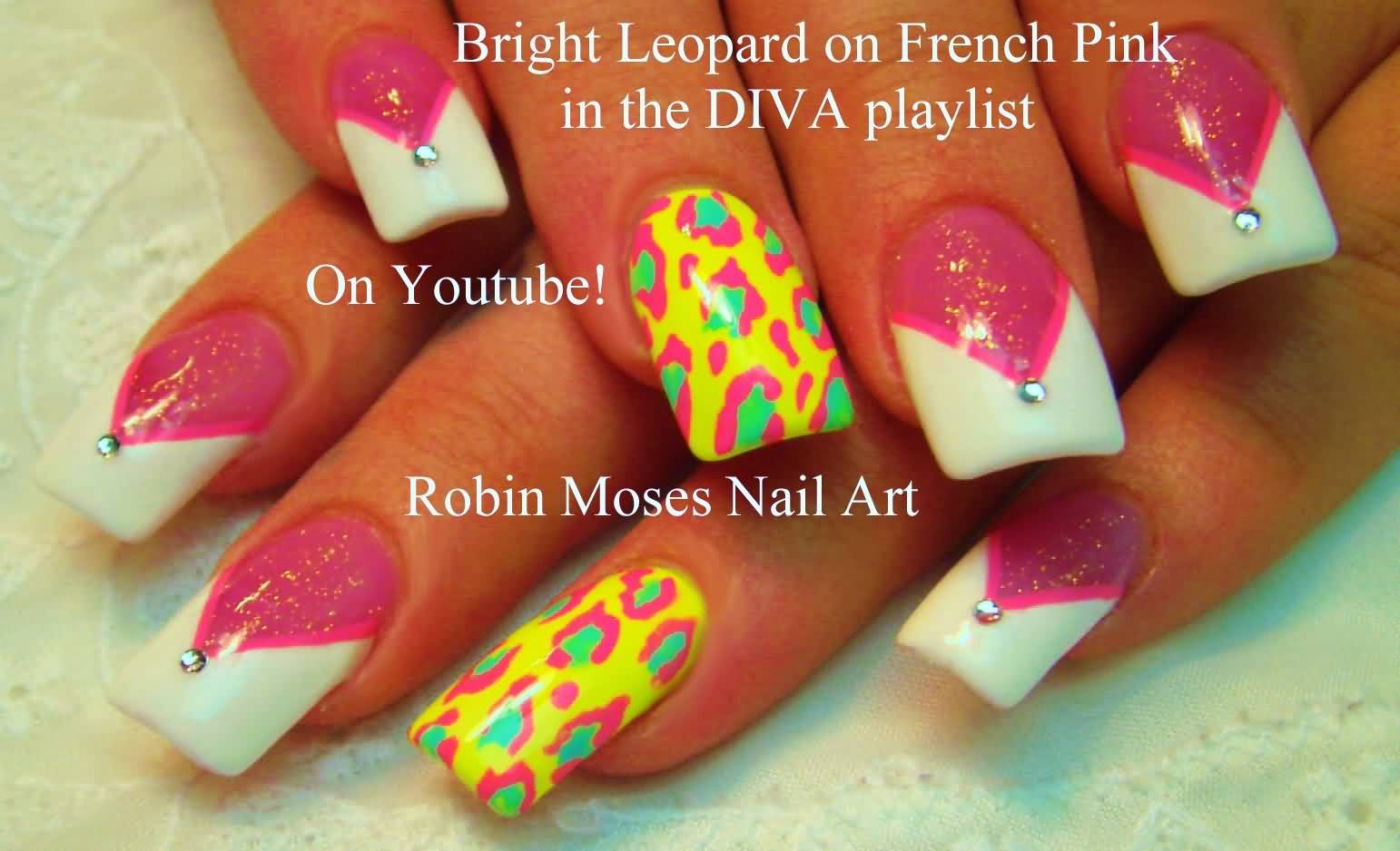 Neon Leopard Print On French Pink Nail Art