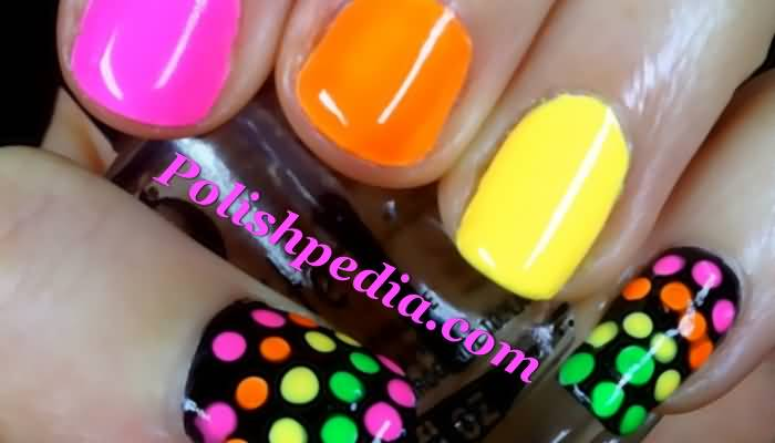 Neon Nails With Polka Dots Nail Art Design Idea