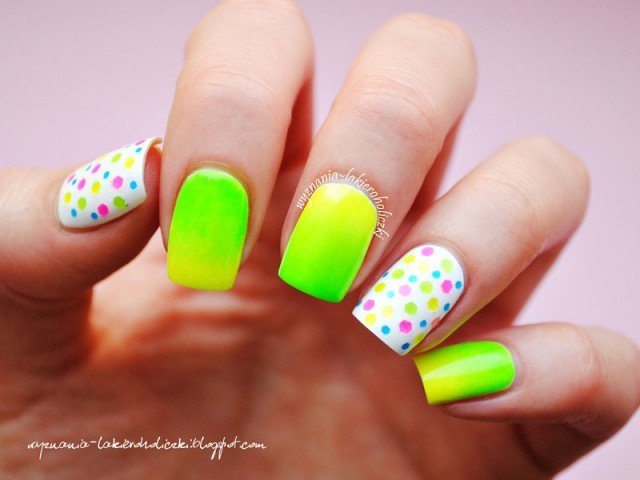 Neon Ombre And Polka Dots Nail Art