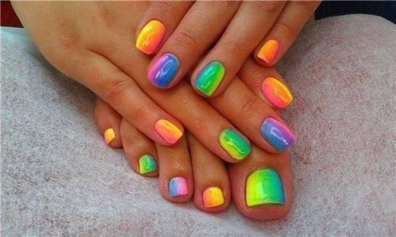 Neon Ombre Nail Art Design
