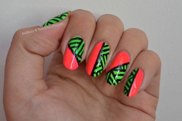 Neon Orange And Green Tribal Design Nail Art