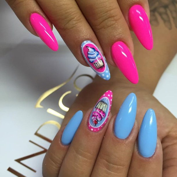Neon Pink And Blue Nail Art Design - 40 Latest Neon Nail Art Designs