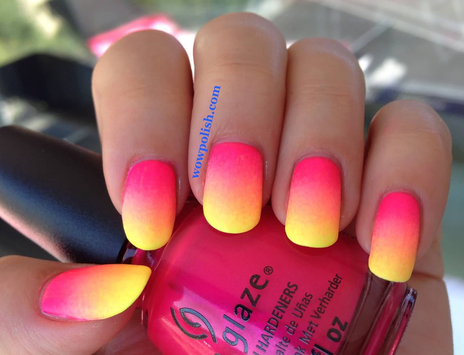 Neon Pink And Yellow Ombre Nail Art