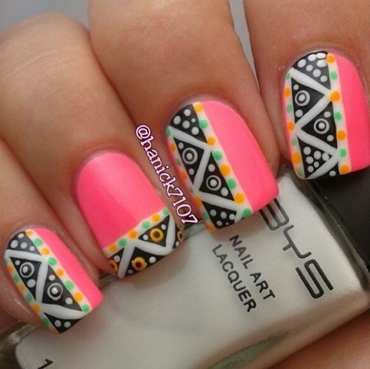 Neon Pink Tribal Design Nail Art