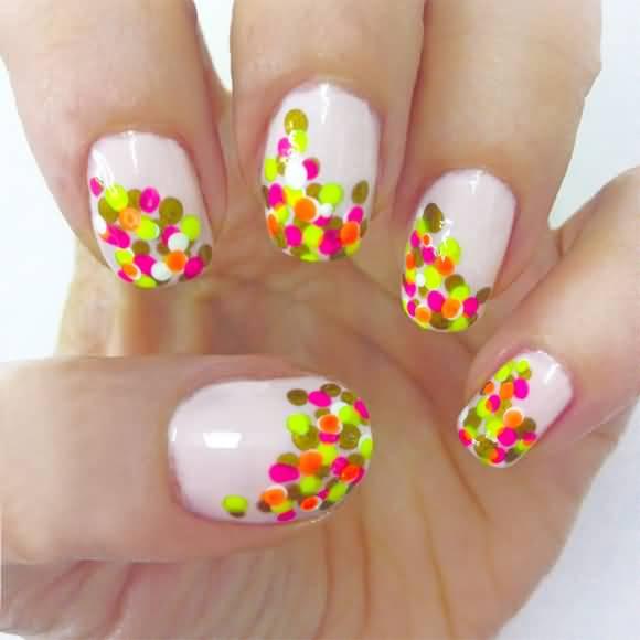 Neon Polka Dots Nail Design