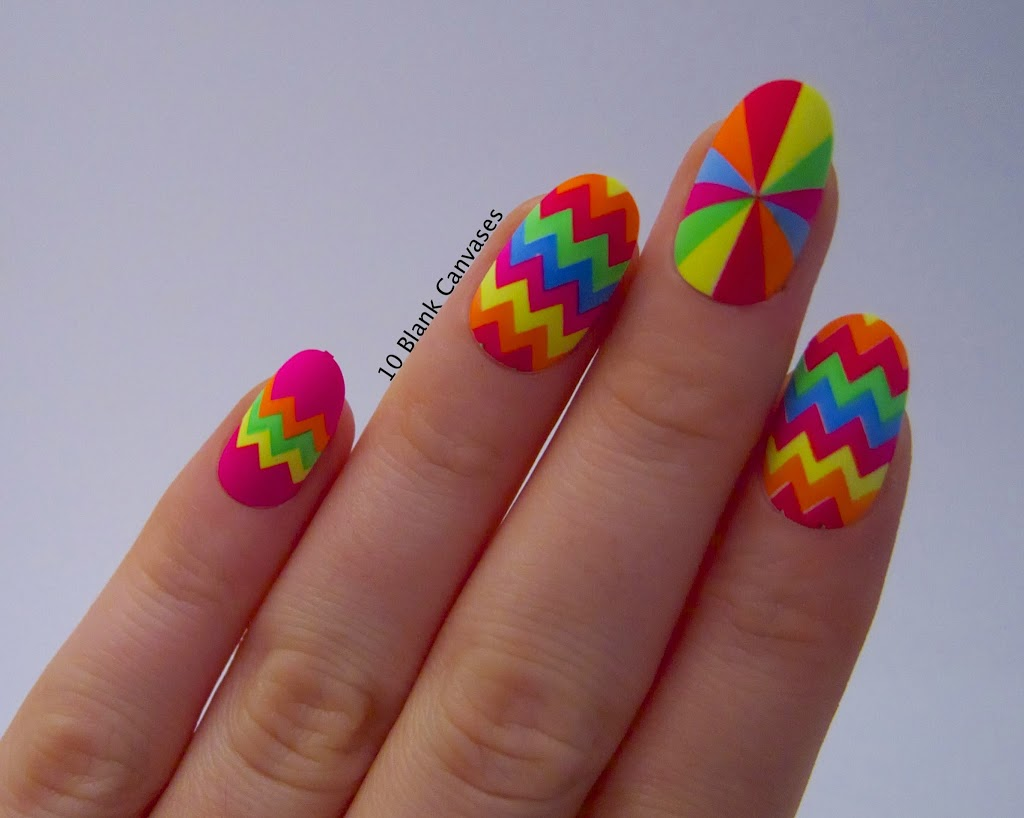 Neon Rainbow Chevron Design Nail Art
