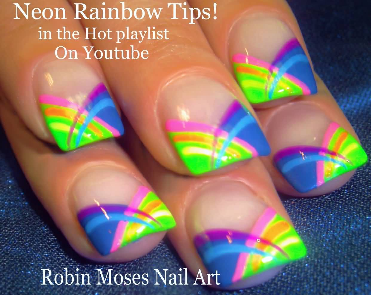 Neon Rainbow French Tip Nail Art