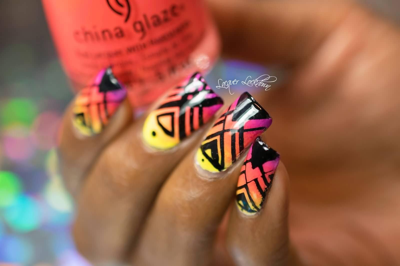 Neon Tribal Nail Art Design