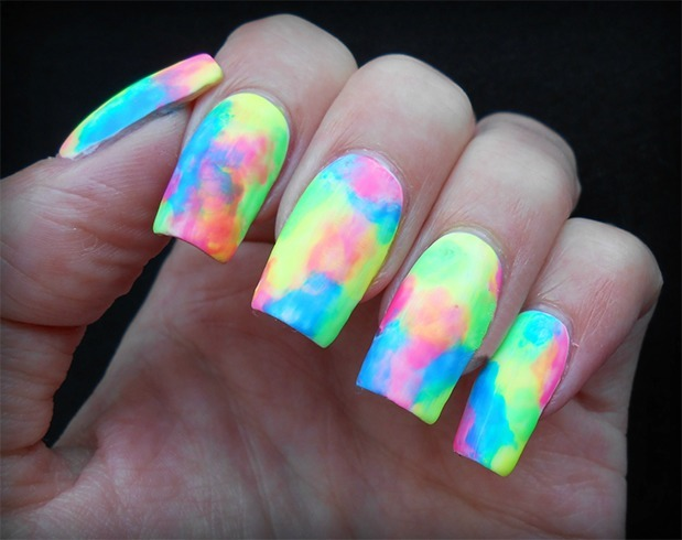 Neon Water Marble Nail Art Design