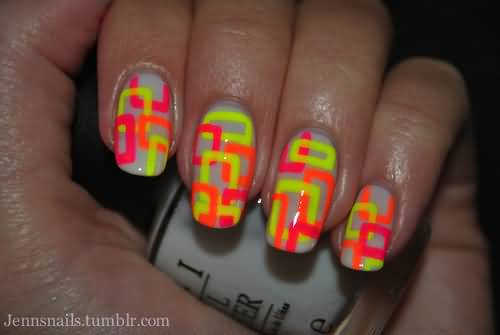 Neon Yellow And Orange Pattern Design Nail Art