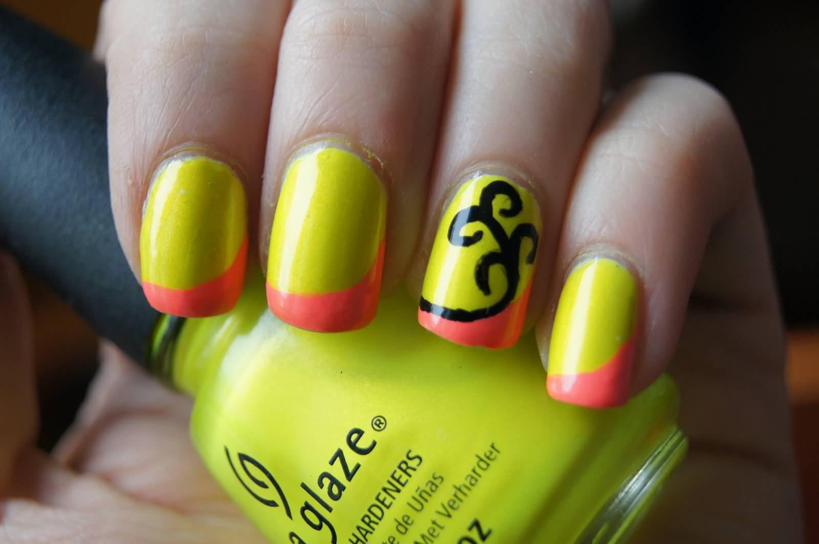 Neon Yellow And Orange Tip Nail Art