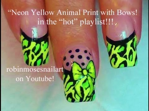 Neon Yellow Animal Print With Bows Nail Art