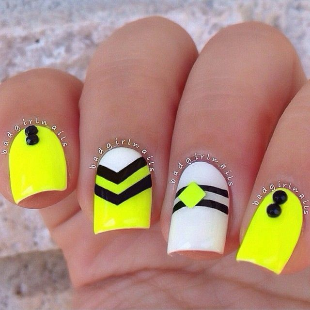 Neon Yellow Nails With Black Chevron Design Nail Art