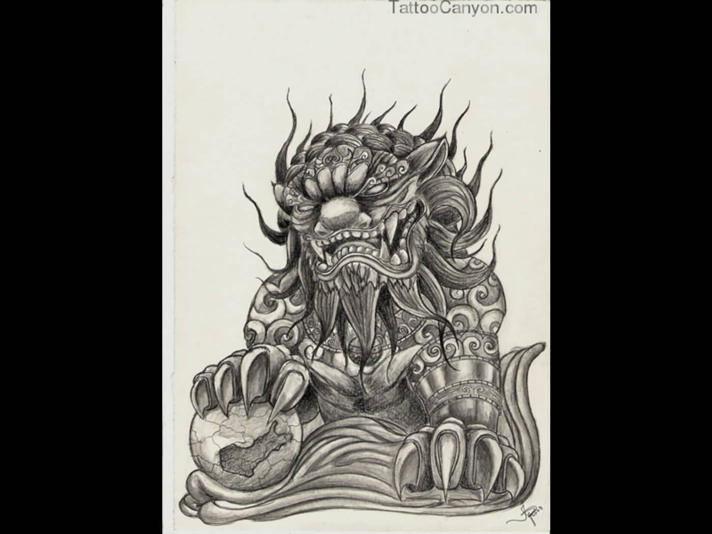 Nice Angry Foo Dog Tattoo Design