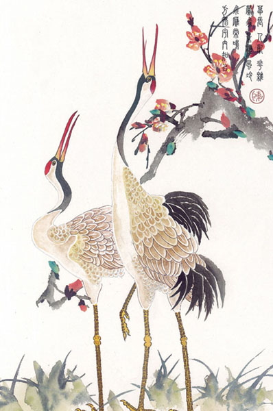 Japanese Crane Tattoo On Man Chest