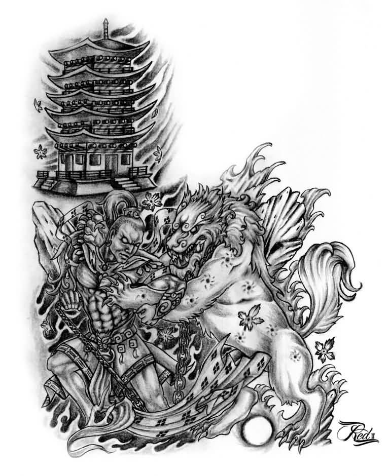 Nice Foo Dog With Warrior And Temple Tattoo Design