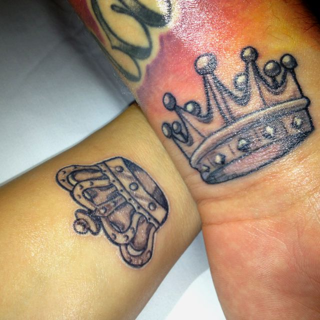 eb6ab912e Nice King And Queen Crown Matching Tattoos On Forearms