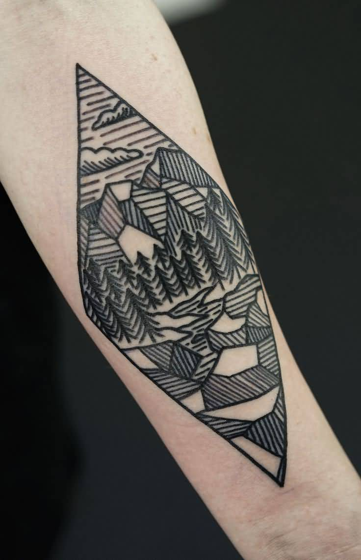 35 geometric mountains tattoos. Black Bedroom Furniture Sets. Home Design Ideas