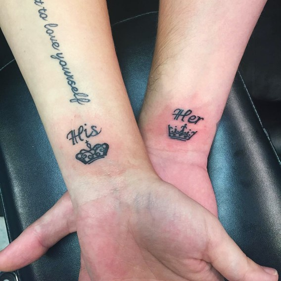25 beautiful crown matching tattoos for Tattoos for her