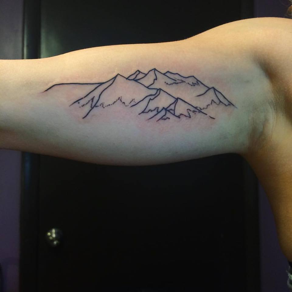 388d00ab1bc99 Nice Mountains Tattoo On Bicep