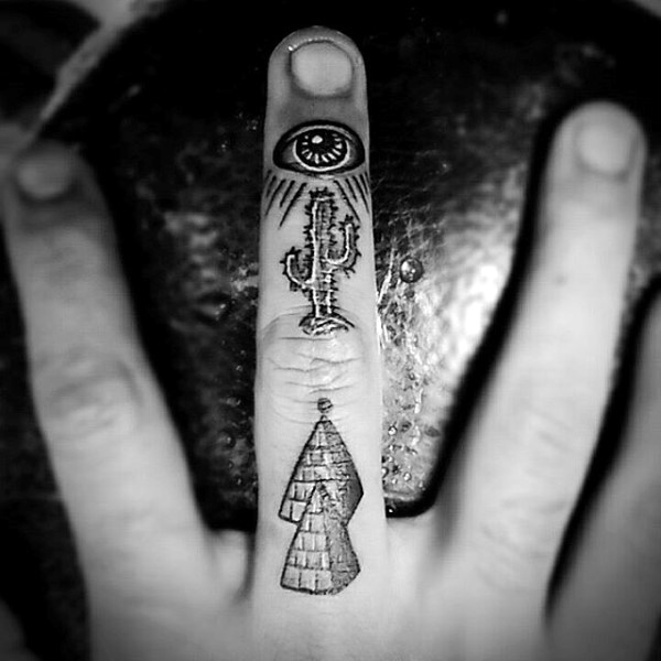 a3082ab82 Nice Small Pyramids With Eye And Cactus Tattoo On Finger