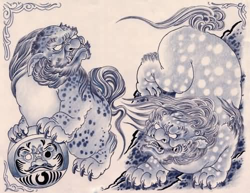 Nice Two Foo Dogs Tattoo Design