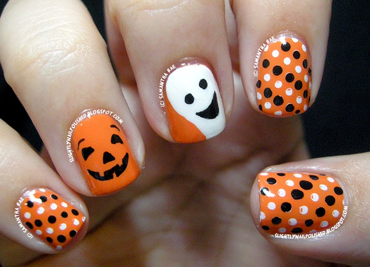 - Orange And White Ghost Face Halloween Nail Art