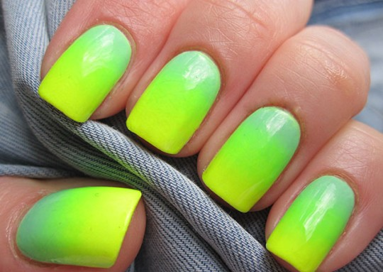 Orange And Yellow Ombre Neon Nail Art