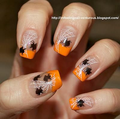 Orange French Tip Spider And Web Halloween Nail Art - 50 Most Beautiful Spider Web Halloween Nail Art Designs