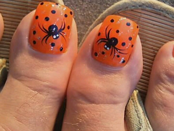 55 latest halloween nail art designs orange nails with black dots and spider halloween nail art for toe prinsesfo Image collections
