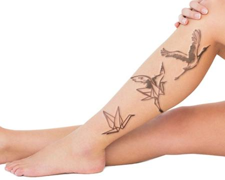 Outline Flying Crane Tattoos On Side Leg