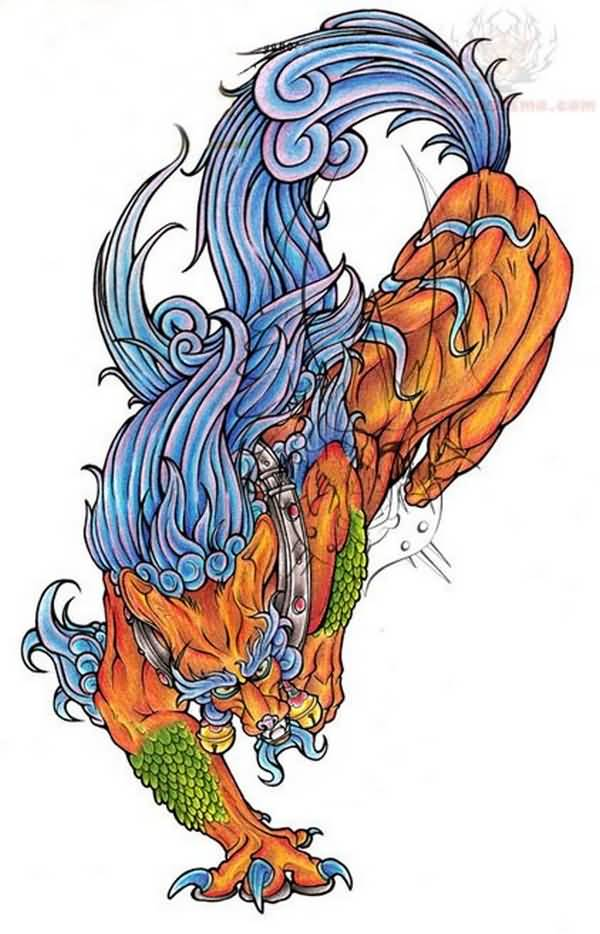 Outstanding Colorful Foo Dog Tattoo Design