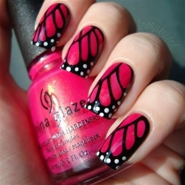 Pink And Black Butterfly Wings Nail Art Design - 51 Most Stylish Black And Pink Nail Art Design Ideas