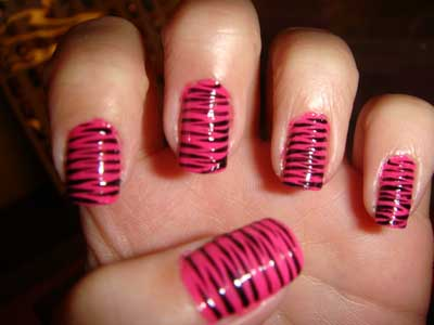 51 most stylish black and pink nail art design ideas pink and black zebra print nail art design prinsesfo Images
