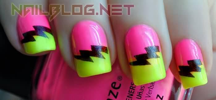 Pink And Green Neon Thunderbolt Design Nail Art