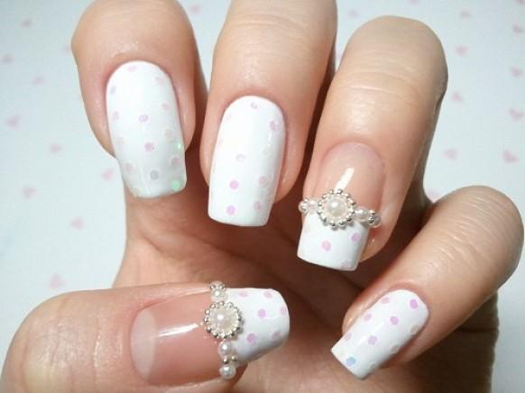 50 most beautiful wedding nail art design ideas for bridal pink and white polka dots with pearls design wedding nail art prinsesfo Image collections