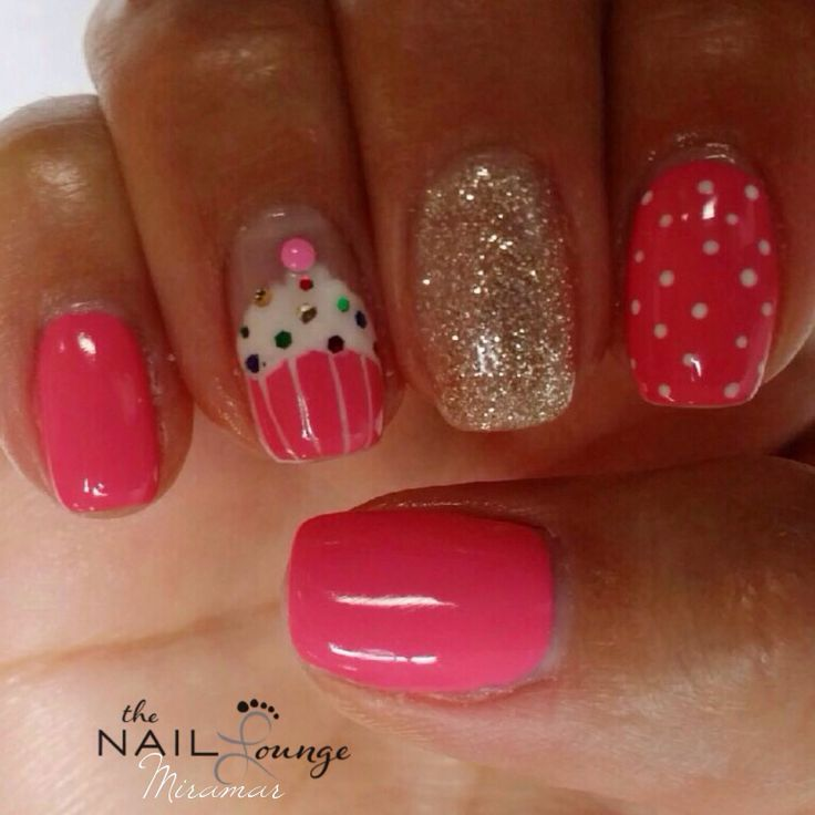 51 wonderful cupcake nail art design ideas for girls pink glossy nails with accent cupcake nail art prinsesfo Gallery