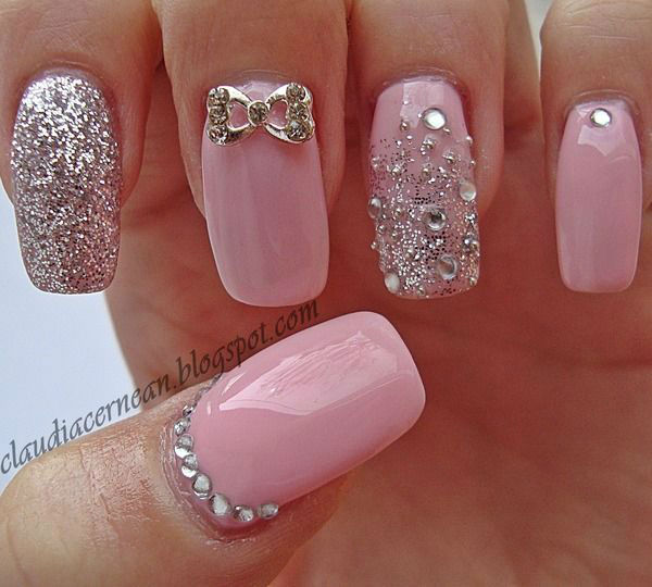 Pink nails with glitter and 3d bow nail art for wedding prinsesfo Image collections