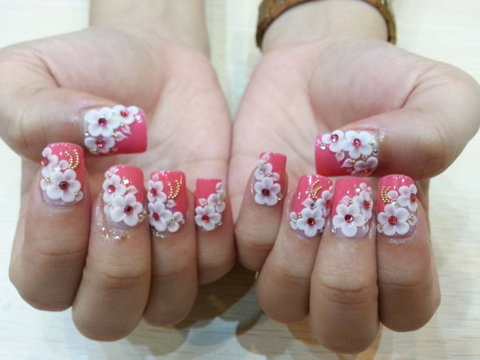 55 cool wedding nail art design ideas pink nails with white 3d flowers wedding nail art prinsesfo Choice Image