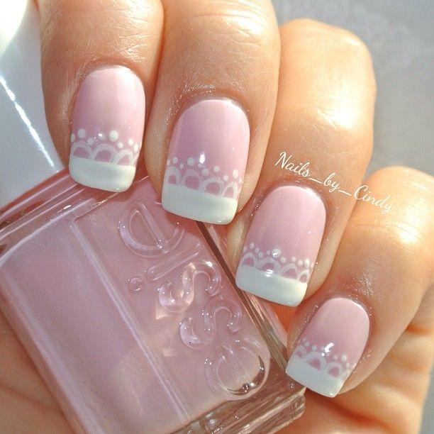 pink nails with white french tip wedding nail art