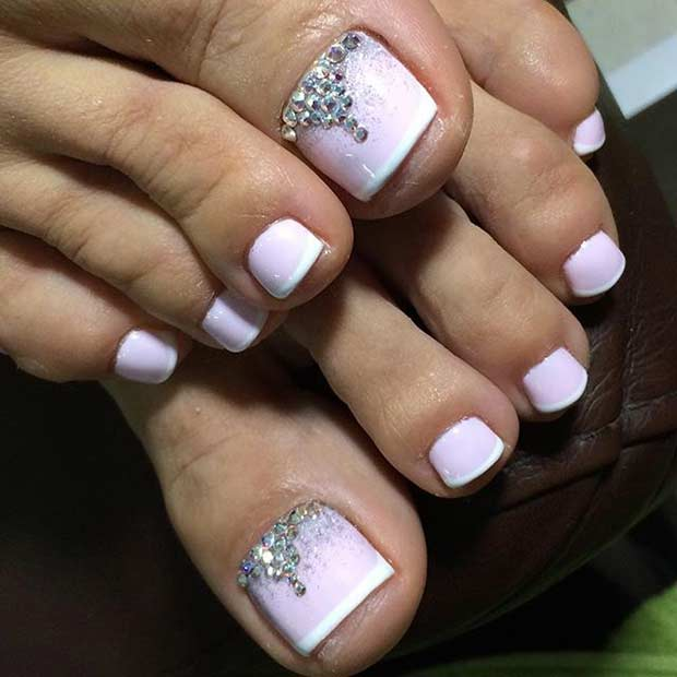 Pink Toe Nails With Rhinestones Wedding Toe Nail Art