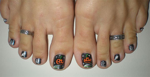 Pumpkin And Ghost Halloween Nail Art For Toe - 25+ Best Halloween Toe Nail Art Designs
